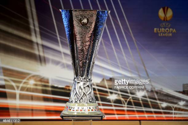 A picture taken on February 27 2015 shows the UEFA Europa League trophy during the draw for the UEFA Europa League round of 16 at the UEFA...