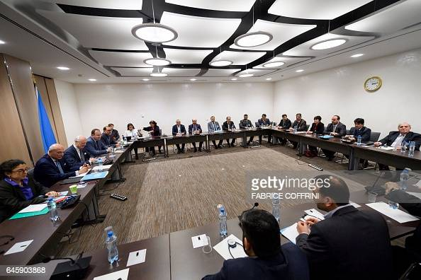 A picture taken on February 27 2017 in Geneva shows a general view at the start of a meeting between UN Special Envoy for Syria and Syria's main...
