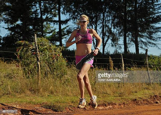 A picture taken on February 3 2014 shows World marathon record holder Britain's Paula Radcliffe training in Kenya's renowned highaltitude village of...