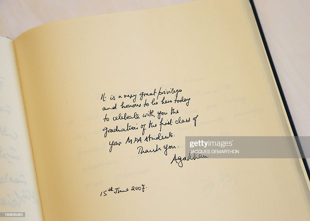 A picture taken on February 4, 2013 shows an autograph by Prince Aga Khan in the visitor's book of the Institute of Political Studies (IEP) in Paris.
