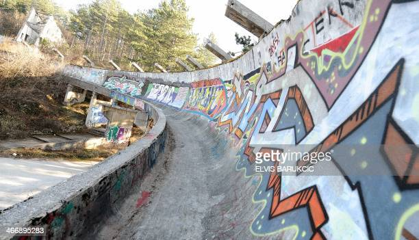 SMAJILHODZIC A picture taken on February 5 2014 shows Sarajevo's abandoned Sarajevo's bob sleigh track near Sarajevo Built and used as an Olympic...
