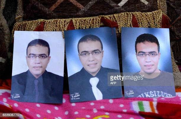 A picture taken on February 5 shows portraits of Abdallah ElHamahmy an Egyptian suspected of being the machete attacker in Paris's Louvre museum...