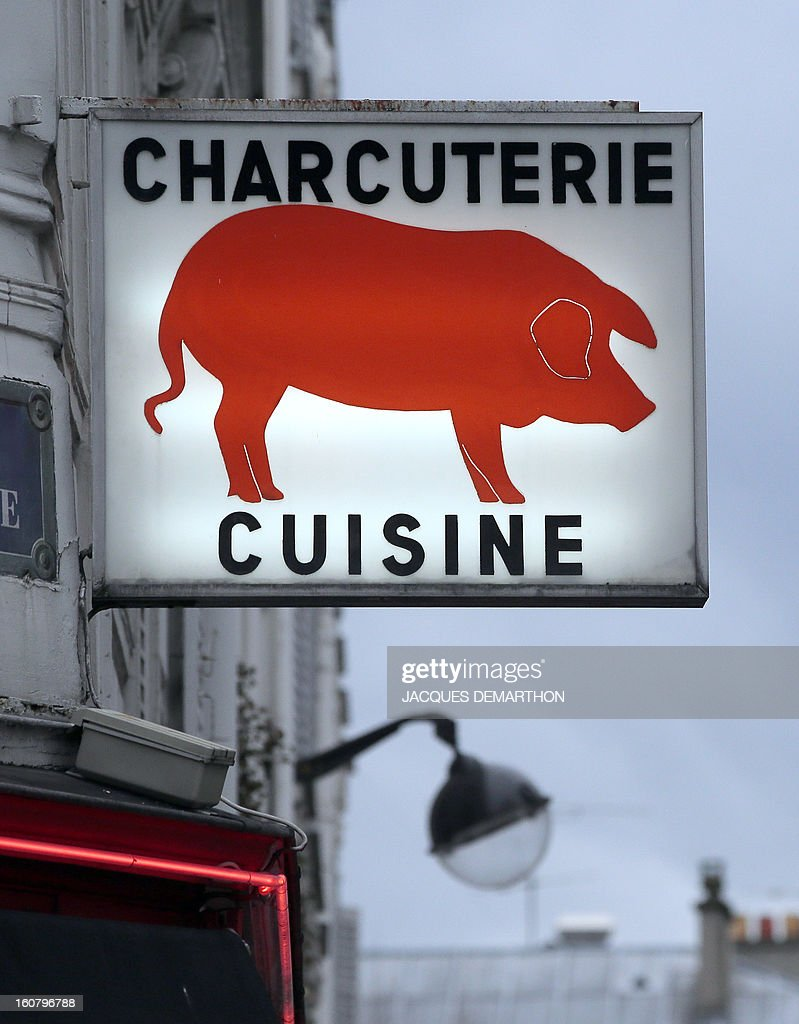 A picture taken on february 6, 2013 in Paris, shows the sign of a delicatessen shop.