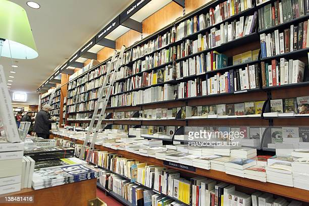 A picture taken on February 7 2012 at La Procure bookstore in Paris shows bookshelves France's small bookstores have survived the rise of big chains...