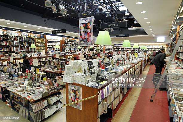 A picture taken on February 7 2012 shows books displayed at La Procure bookstore in Paris France's small bookstores have survived the rise of big...