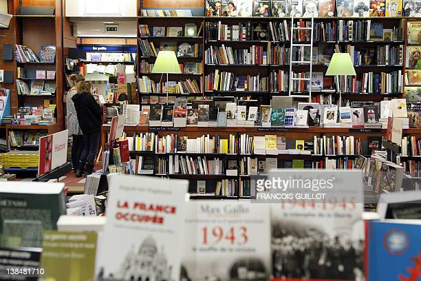 A picture taken on February 7 2012 shows novels displayed at La Procure bookstore in Paris France's small bookstores have survived the rise of big...