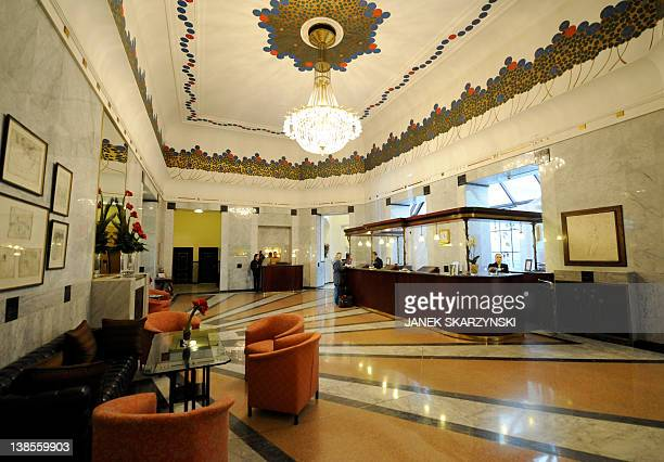 A picture taken on February 8 2012 shows the lobby at the Bristol hotel in Warsaw where the Russian national football team will be based during the...