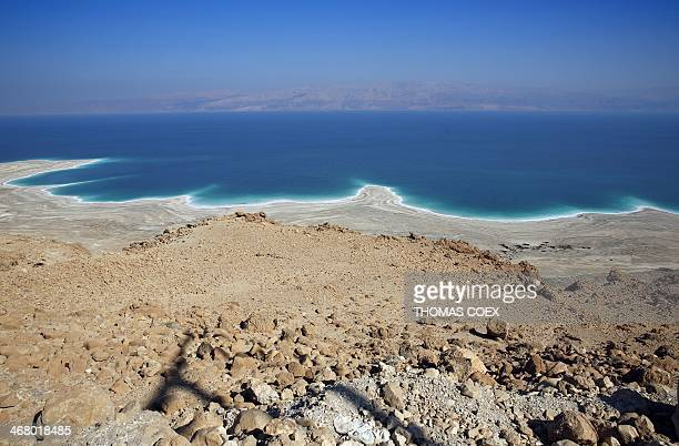 A picture taken on February 8 2014 near Ein Gedi in Israel shows the Dead Sea shoreline shaped by the decline in water levels as a result of the...