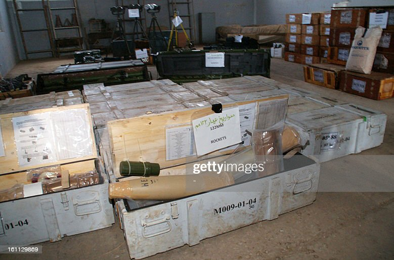 A picture taken on February 8, 2013, in the port of the southern city of Aden shows weapons and military equipment that the Yemeni authorities allegedly seized from a vessel in territorial waters off the coast of Yemen on January 23. UN sanctions experts are investigating the Yemeni government's claims that Iran supplied rockets and explosives seized from a ship last month, diplomats said on February 7.