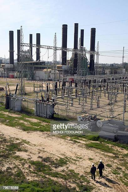 A picture taken on February 9 2008 in the central costal strip town of Nusseirat shows the Gaza Power Generating Company where most of the...