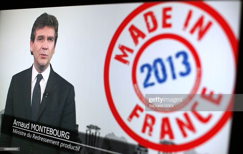 A picture taken on January 1, 2013 shows French minister for Industrial Renewal Arnaud Montebourg adressing his New Year wishes on his web page.