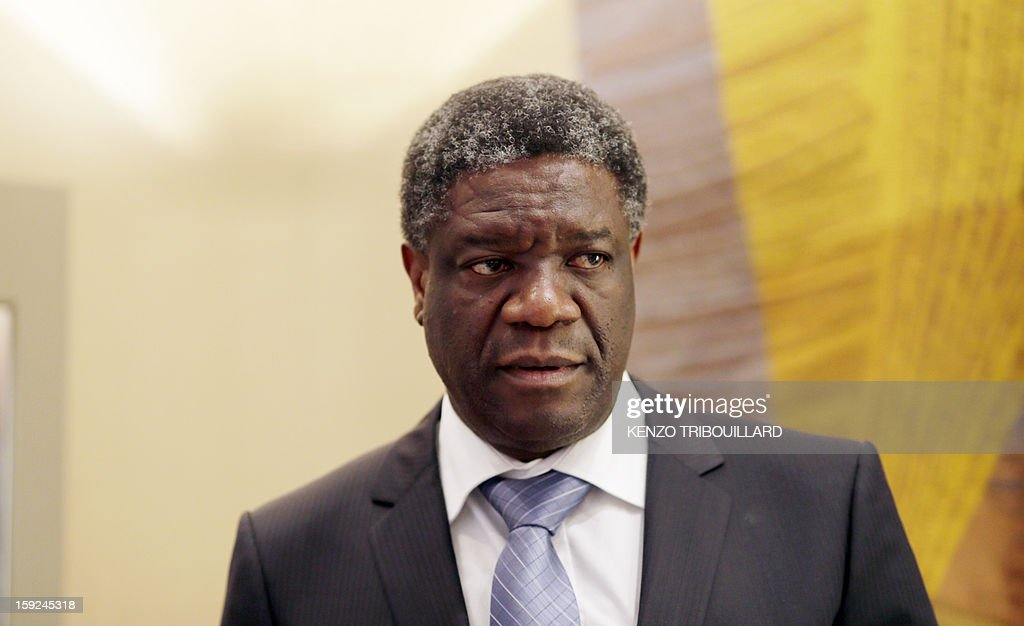 A picture taken on January 10, 2013 shows Congolese doctor Denis Mukwege, founder of a pioneering rape victims clinic in the Democratic Republic of Congo, on January 10, 2013 in Paris. Denis Mukwege will be back on January 14, hospital he founded announced on January 11.