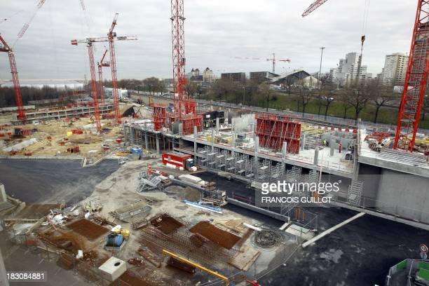 A picture taken on January 11 2012 shows the construction site of the upcoming Paris new philharmonic at the Cité de la musique at La Villette...