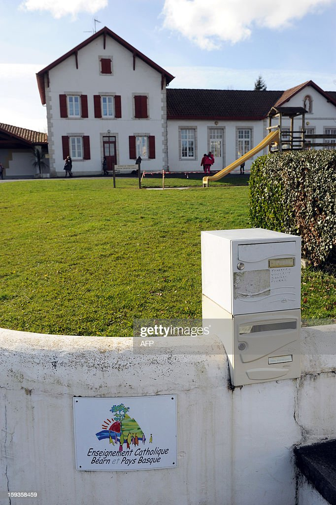 A picture taken on January 11, 2013 shows a general view of the Saint-Vincent private school in Ustaritz, southwestern France. A municipal policewoman expelled on January 9 a five-year old pupil from the municipal canteen, for unpaid 170 euros, at the request of the mayor.