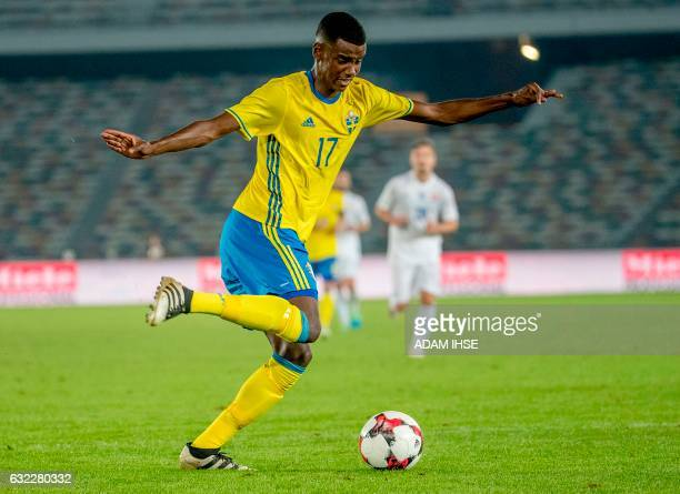 Picture taken on January 12 2017 shows Swedish football player Alexander Isak during a friendly football match between Sweden and Slovaka at Zayed...