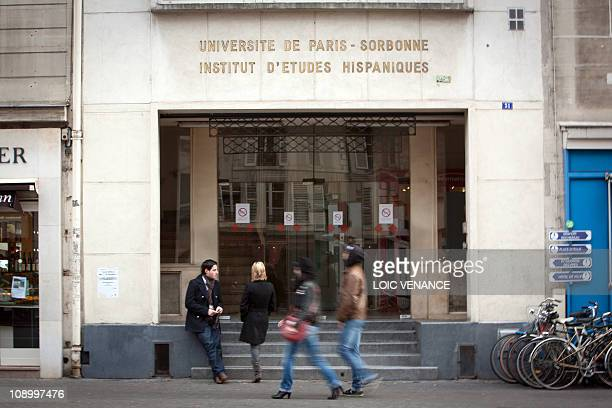 A picture taken on January 13 2011 in Paris shows the facade of the Spanish studies institute of the Sorbonne university AFP PHOTO LOIC VENANCE