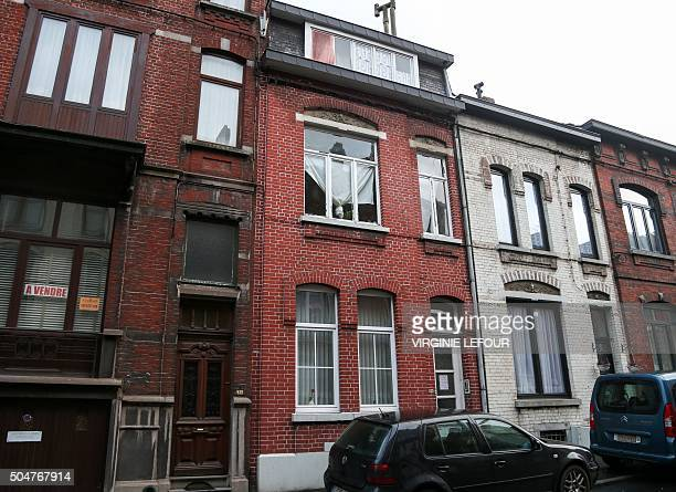 A picture taken on January 13 2016 shows a house in Charleroi identified by Belgian police as a safe house used by key suspects in the November 13...