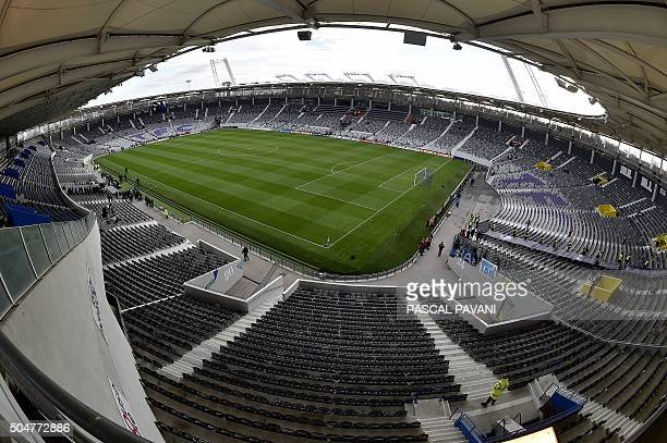 A picture taken on January 13 shows a general view of the interior of the Stadium in Toulouse southern France four days ahead of its official...