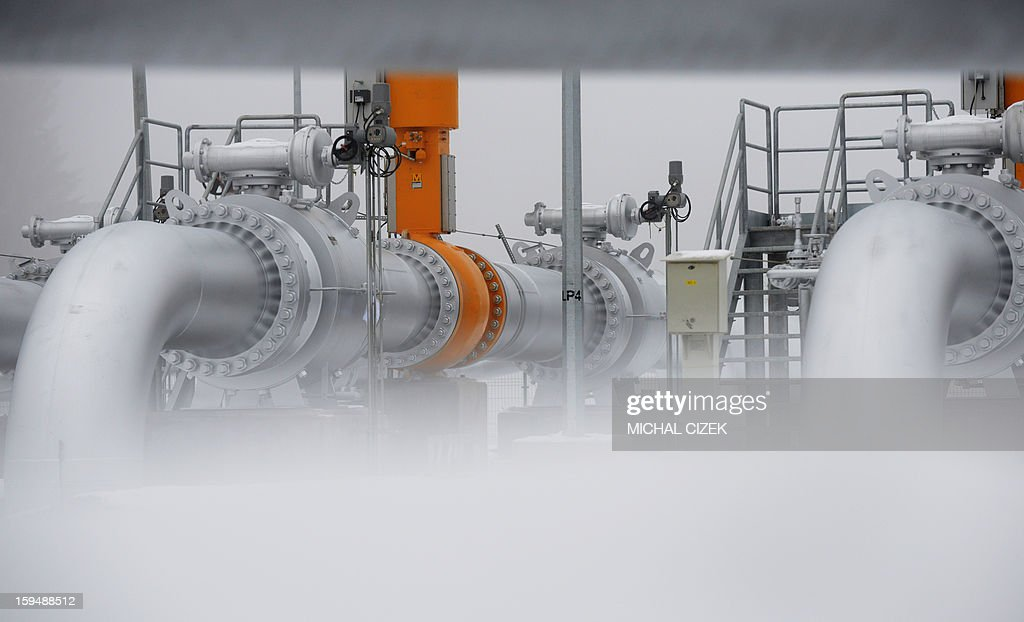 Picture taken on January 14, 2013 shows a gas pipeline station in Primda village, near of Czech -German border. The pipeline called 'Gazelle' that was inaugurated on January 14, 2013 is a new transmission route for Russian gas for the entire European Union.