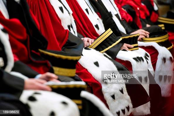 A picture taken on January 14 2013 shows magistrates during a formal sitting of the appeal court at Lyon's Courthouse in central France AFP PHOTO...