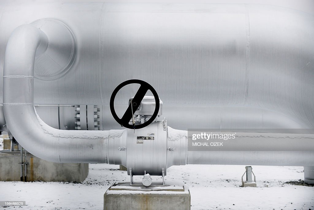 Picture taken on January 14, 2013 shows parts of a gas pipeline station in Primda village, near of Czech -German border. The pipeline called 'Gazelle' that was inaugurated on January 14, 2013 is a new transmission route for Russian gas for the entire European Union.