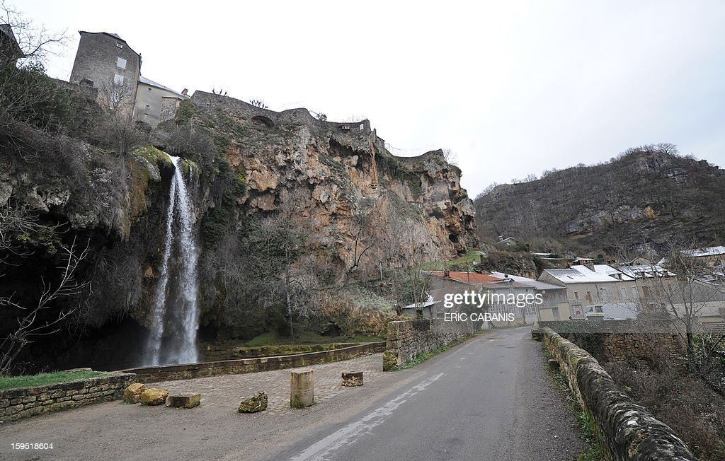 A picture taken on January 14, 2013 shows the waterfall in the center of Salles-la-Source, southern France.