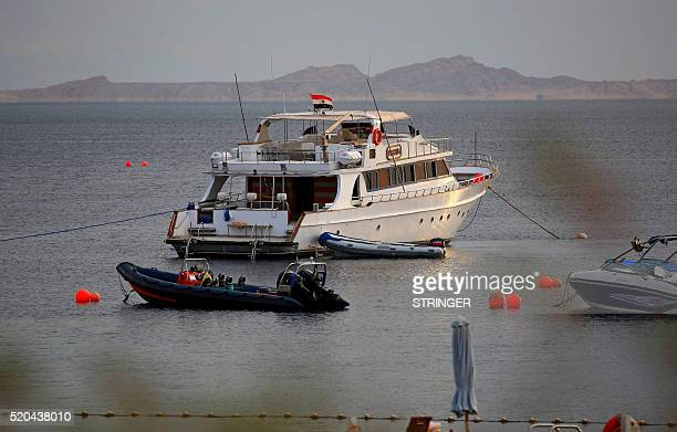 A picture taken on January 14 2014 from the Egyptian Red Sea resort of Sharm elSheikh shows the Tiran island in the Strait of Tiran between Egypt's...