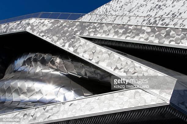 A picture taken on January 14 2016 shows details of the 'Philharmonie de Paris' concert hall designed by French architect Jean Nouvel in Paris / AFP...