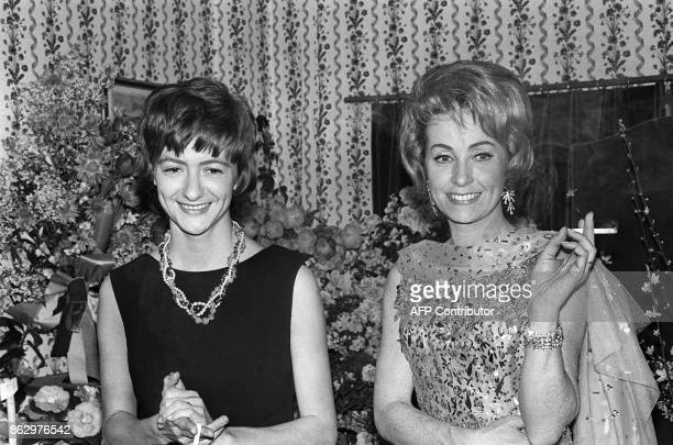 Picture taken on January 16 1963 at the opening night of author Francoise Sagan's 3rd play 'La Robe Mauve De Valentine' with Danielle Darrieux at the...