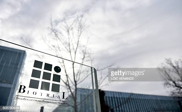 A picture taken on January 16 2016 shows the logo of the Biotrial laboratory on its building in Rennes western France where a clinical trial of an...