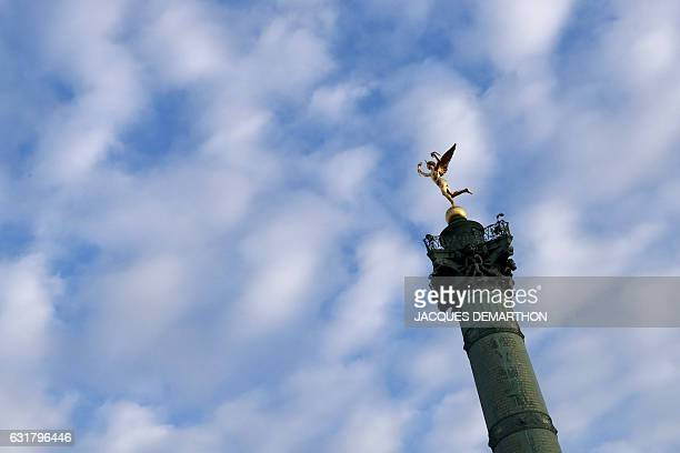 A picture taken on January 16 2017 shows the Colonne de Juillet and its statue on top Le Genie de la Liberte at Place de la Bastille in Paris / AFP /...