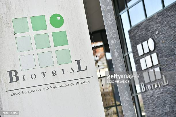 A picture taken on January 16 in Rennes western France shows the logo of the Biotrial laboratory on its building where a clinical trial of an oral...