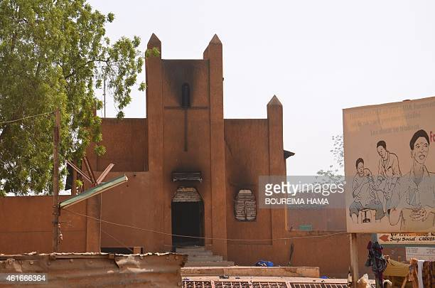 A picture taken on January 17 2015 shows a church which was damaged after it was set on fire by protesters during a demonstration against French...