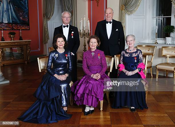 Picture taken on January 17 2016 at the Royal Castle in Oslo shows King Carl Gustaf of Sweden and King Harald of Norway and Queen Silvia of Sweden...