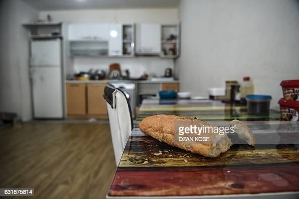 TOPSHOT A picture taken on January 17 2017 shows the inside of the apartment where the main suspect in the Reina nightclub rampage was arrested by...