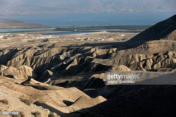 A picture taken on January 20 2016 near the West Bank city of Jericho shows a view of the mountains of the Judean desert / AFP / AHMAD GHARABLI