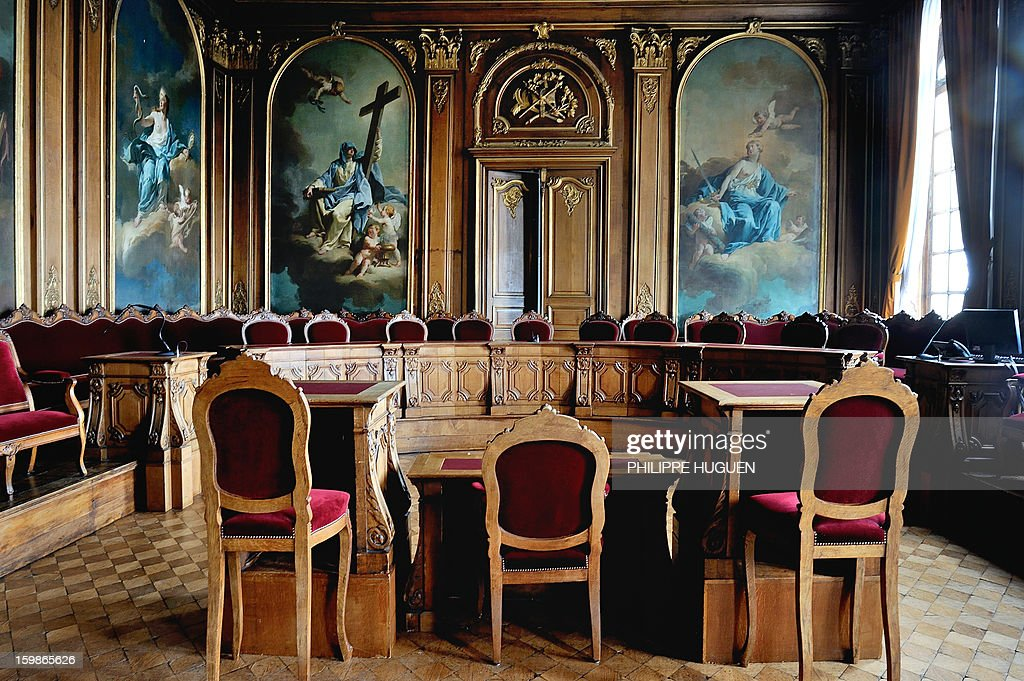 A picture taken on January 21, 2013 shows a courtroom at the criminal court ('Cour d'assises' in French) in Douai's courthouse, in northern France.