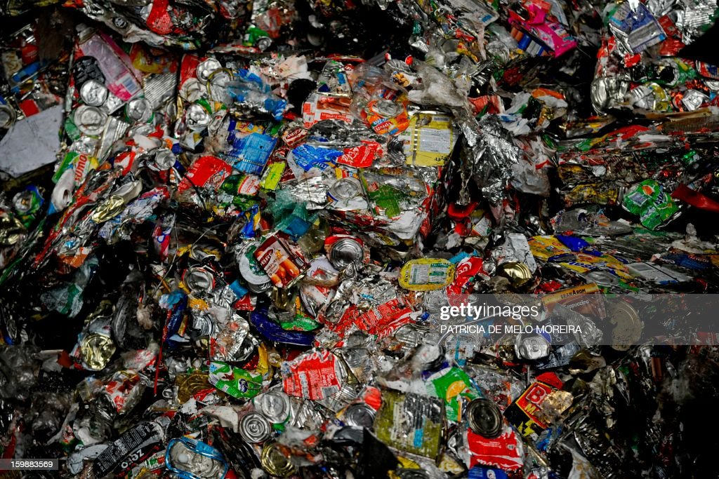 A picture taken on January 22, 2013 shows can for recycling at Valorsul, a waste treatment plant, in Lisbon. AFP PHOTO / PATRICIA DE MELO MOREIRA