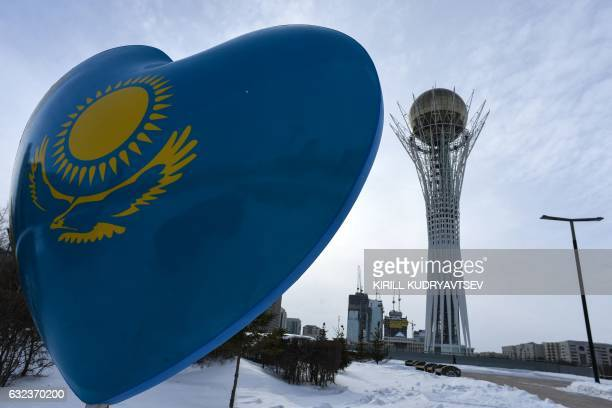 A picture taken on January 22 2017 shows the Bayterek monument in downtown Astana The socalled Astana peace talks set to begin on Monday will be the...