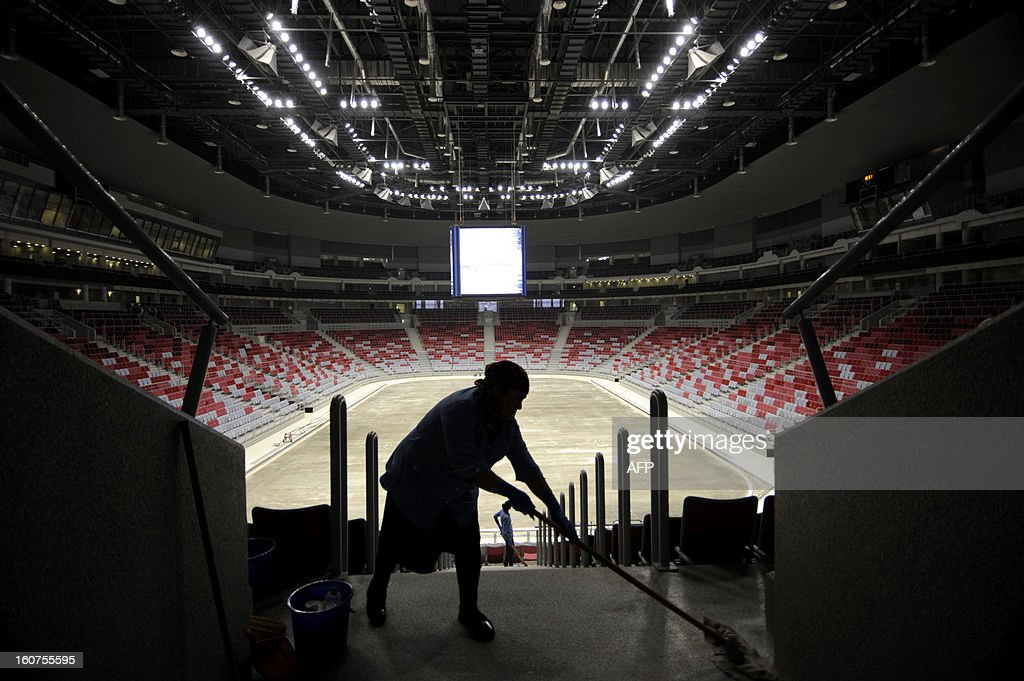 A picture taken on January 23, 2013, shows an inside view of the Bolshoi Ice Palace construction site at the Olympic Park in the Russian Black Sea resort of Sochi. One year before Russia kicks off the 22nd Winter Olympic Games on February 7, 2014, its host city Sochi is one of the world's biggest construction sites, with works proceeding on schedule but declared a disaster by environmentalists.