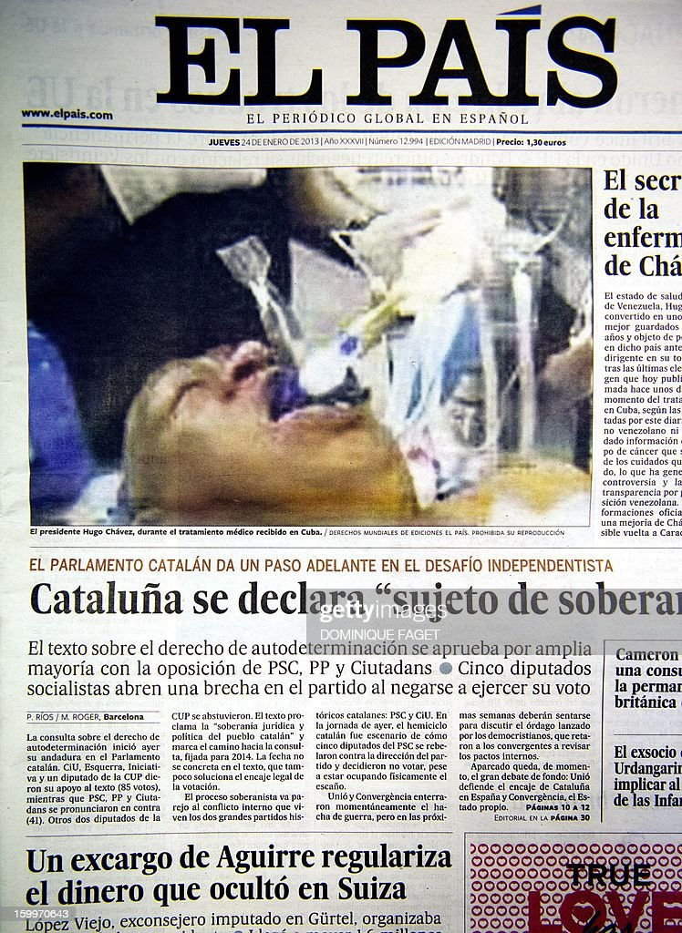 Picture taken on January 24, 2013 in Madrid of the front page of the Spanish newpaper 'El Pais' edition of January 23, 2013 publishing a photograph supposedly of ailing Venezuelan President Hugo Chavez in his hospital bed. Spain's leading newspaper El Pais apologised on January 24, 2013 after publishing a front-page photograph supposedly of ailing Venezuelan President Hugo Chavez in his hospital bed, and then discovering the patient was actually someone else. The dramatic photograph, which claimed to show Chavez lying in a Cuban hospital after his cancer operation with tubes emerging from his mouth, sparked a furious reaction from Venezuela. AFP PHOTO/DOMINIQUE FAGET