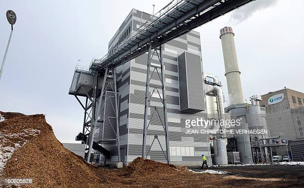 A picture taken on January 24 2013 shows a biomass plant and the gas coal and steam plant at the UEM thermal power plant in Metz eastern France This...