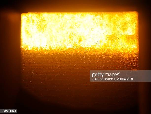 A picture taken on January 24 2013 shows the boiler at the UEM biomass plant in Metz eastern France on January 24 2013 This thermal power plant...