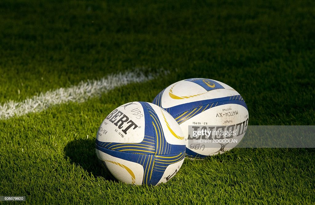 A picture taken on January 24 2016 shows rugby balls before the European Champions Cup rugby union match Clermont vs BeglesBordeaux at the Michelin...