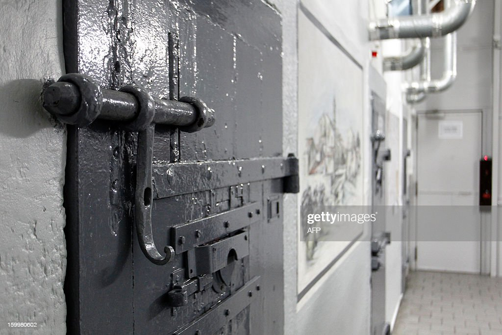 A picture taken on January 24, 2013, in Ajaccio, Corsica, shows a corridor and prison doors at the Ajaccio's jail.