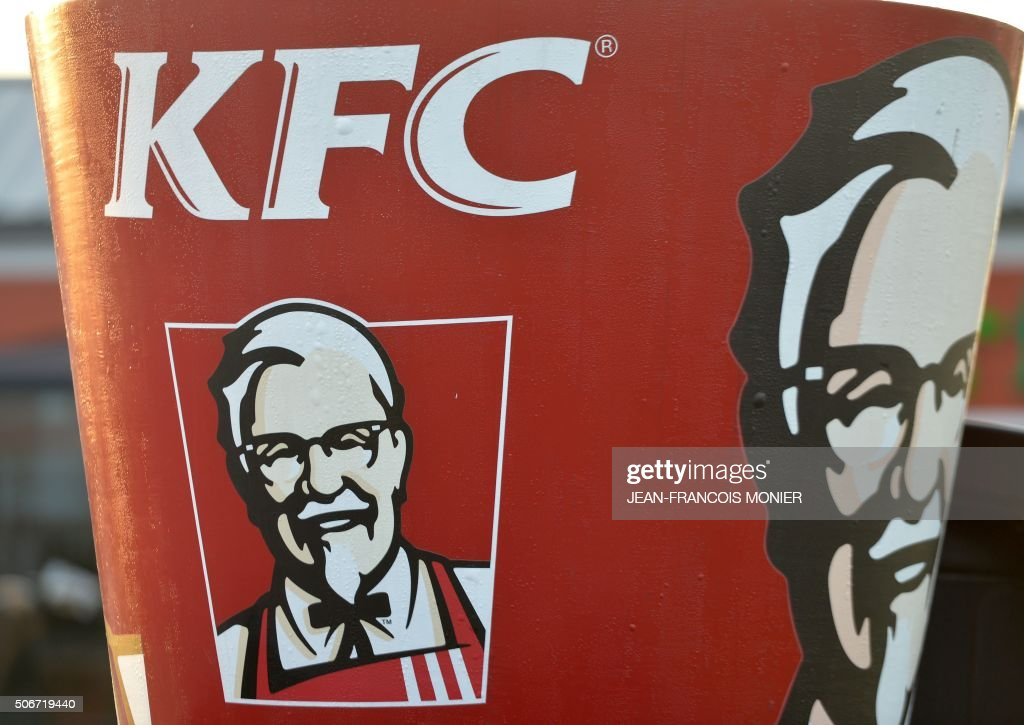 Picture taken on January 25 in Laval northwestern France shows the Kentucky Fried Chicken logo at a KFC restaurant MONIER