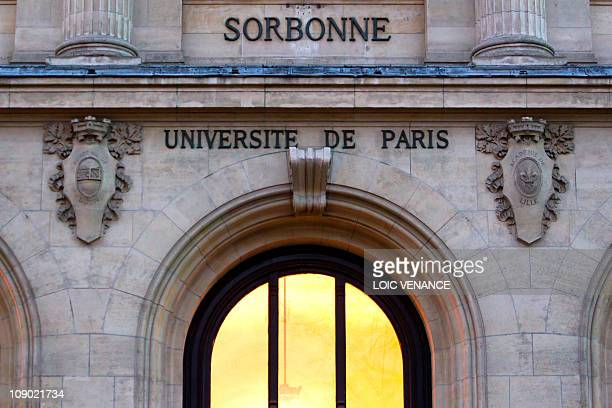 A picture taken on January 26 2011 in Paris shows the facade of the Sorbonne university AFP PHOTO LOIC VENANCE