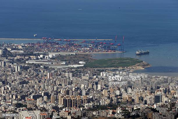 A picture taken on January 26 2016 from the village of Beit Mery east of Beirut shows the port of the Lebanese capital / AFP / JOSEPH EID
