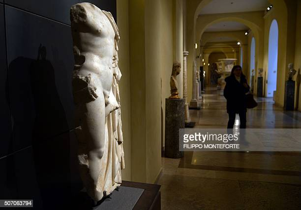 A picture taken on January 26 2016 shows one of the ancient Roman marble statues at Rome's Capitoline Museum on Capitol Hill that was covered during...