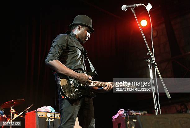 A picture taken on January 27 2016 shows Malian band Songhoy Blues performing during the Bamako Acoustik Festival in Bamako The Bamako Acoustik...